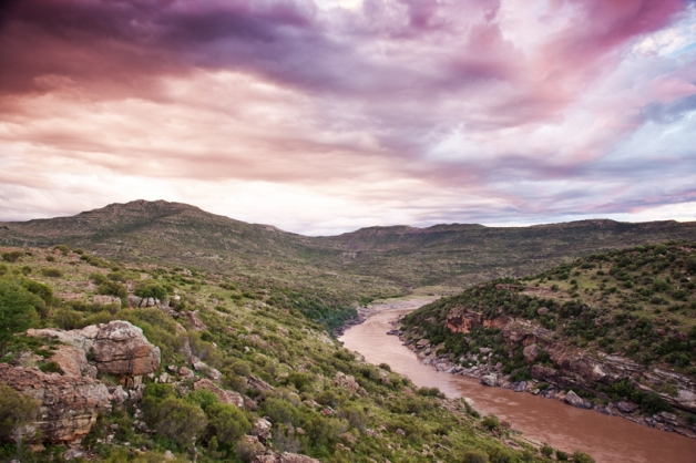 View over the !Gariep River in the Herschel District after entering South Africa.