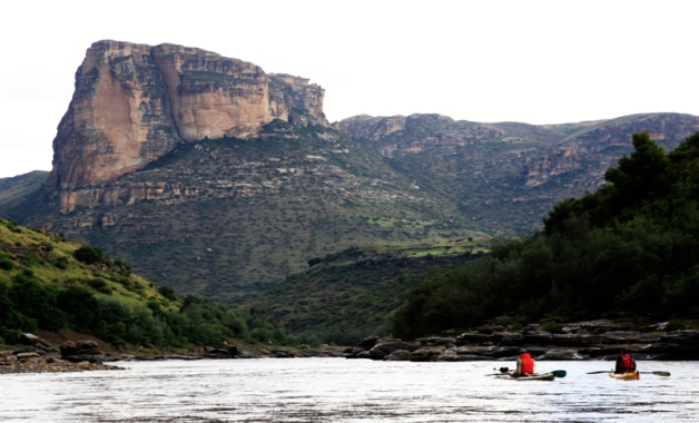 Typical landscape while paddling down the Senqu in Lesotho.